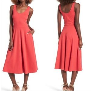Leith Red Sleeveless Midi Dress with Pockets